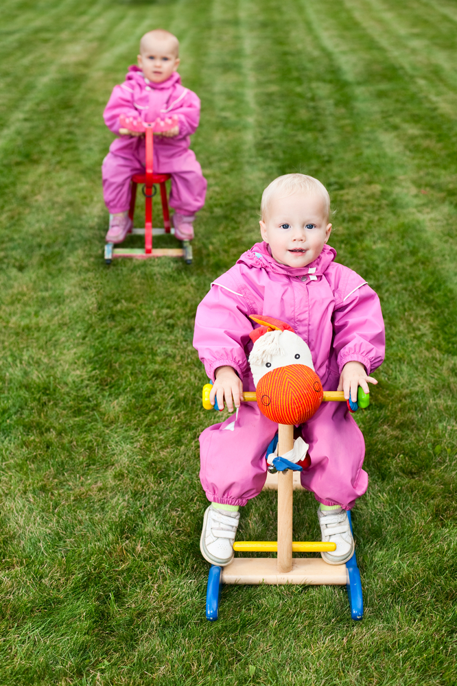 First Birthday Gift Ideas Two Baby Girls On Rocking Horses