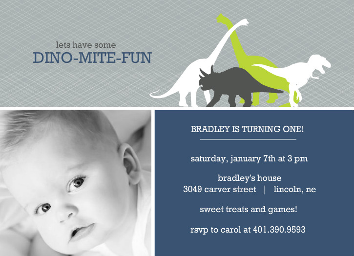 Dinosaur Photo First Birthday Invitation By PurpleTrail
