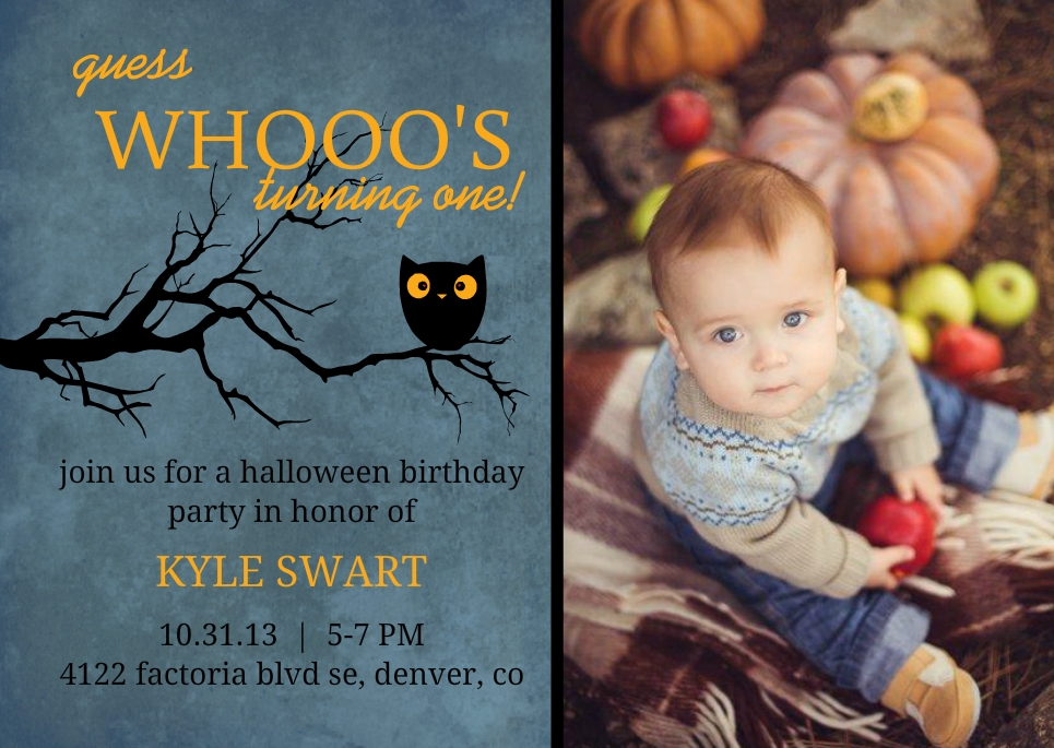 Guess Whooo Midnight Owl Set Halloween Birthday Invitation